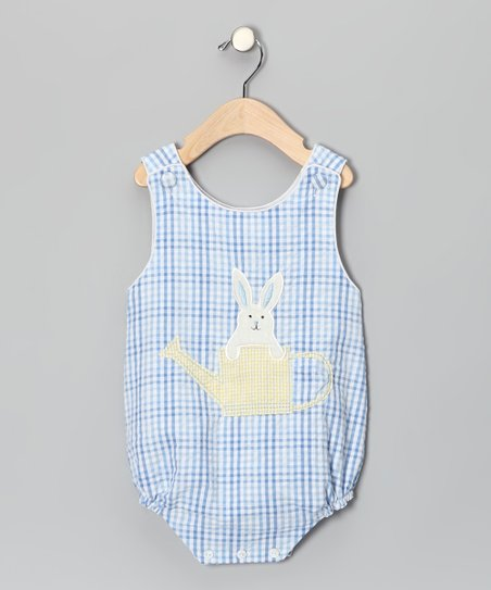 Blue Plaid Bunny Bubble Bodysuit - Infant