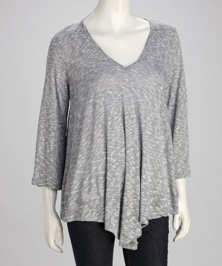 Gray & White V-Neck Top