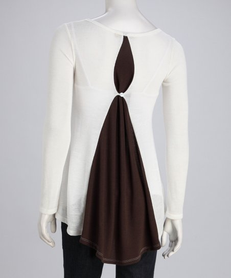 White & Brown Layered Top