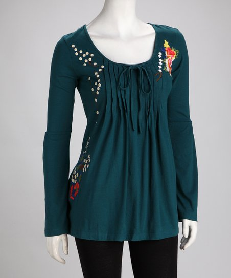 Biz Teal Embroidered Tunic