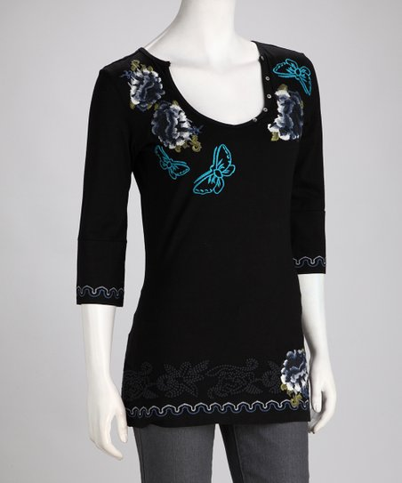 Biz Black Embroidered Butterfly Top