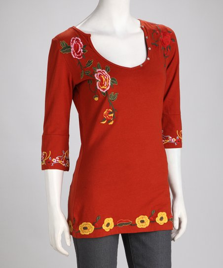 Biz Brick Embroidered Floral Top