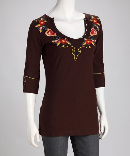 Biz Brown Embroidered Top