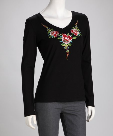 Biz Black Embroidered Floral Top