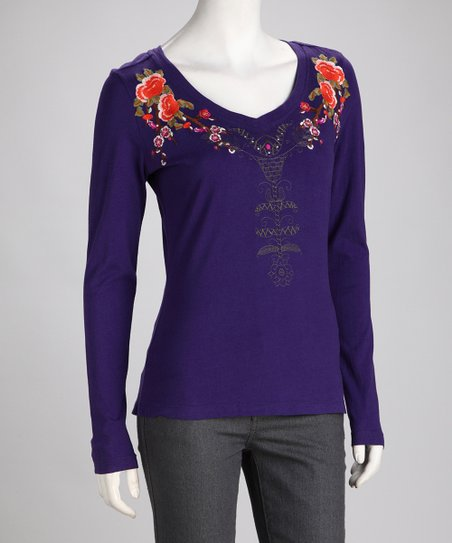 Biz Purple Embroidered Floral Top
