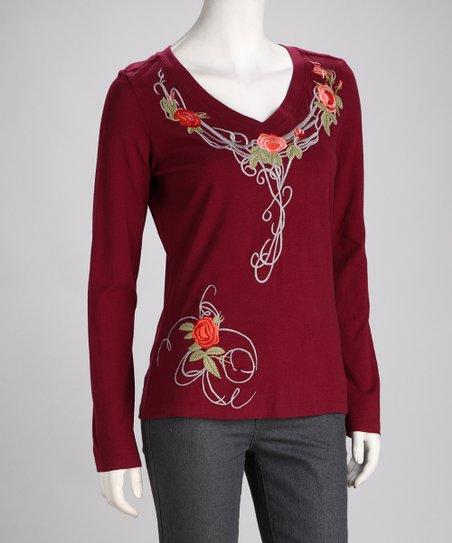 Biz Burgundy Embroidered Floral Top
