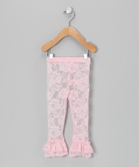 Pink Lace Ruffle Leggings - Infant, Toddler & Girls