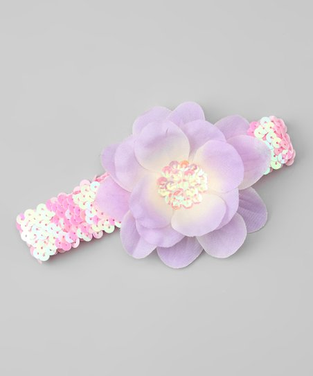 Pink Sequin & Lavender Flower Headband