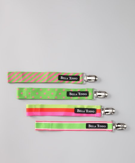 Bella Tunno Green Dot & Stripe Ribbon Pacifier Clip - Set of Four