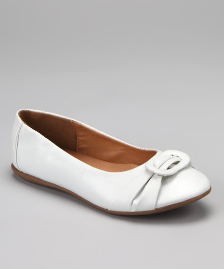 White May Buckle Ballet Flat