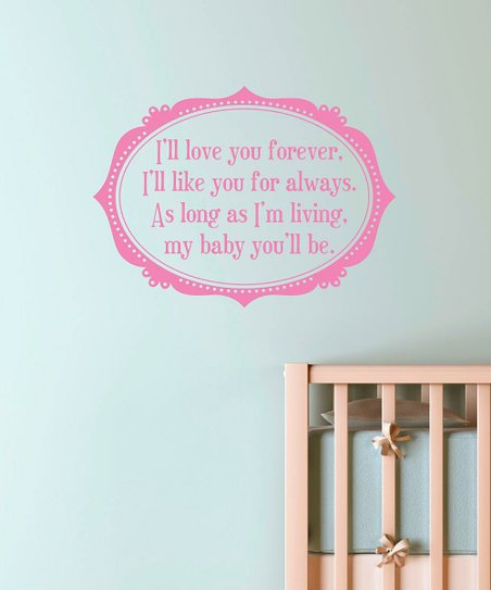 Soft Pink 'Love You Forever' Frame Wall Decal