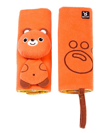 Orange Bear Seat Belt Pad Set