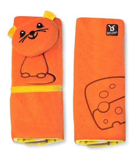 Orange Mouse Seat Belt Pad Set