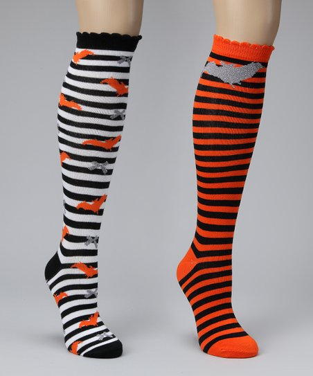 Black & White Stripe Knee Socks Set