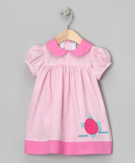 Pink Stripe Fish Babydoll Dress - Infant &amp; Toddler