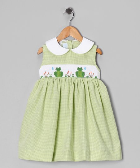 Green Gingham Frog Smocked Dress - Toddler &amp; Girls