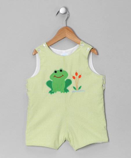Green Gingham Frog Shortalls - Toddler