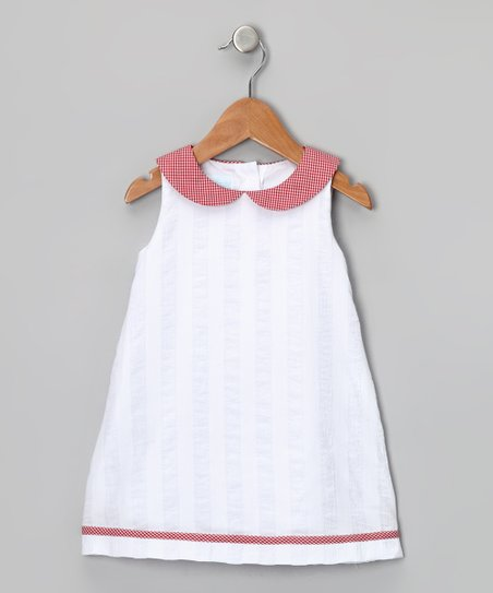 White & Red Collar Dress - Toddler & Girls