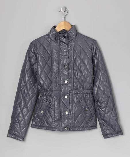 Gray Quilted Jacket - Girls
