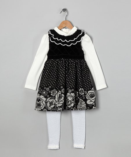 Black Polka Dot Dress Set - Toddler & Girls