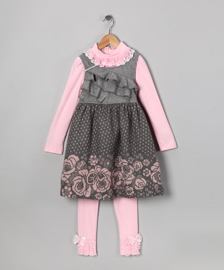 Gray Polka Dot Dress Set - Toddler & Girls