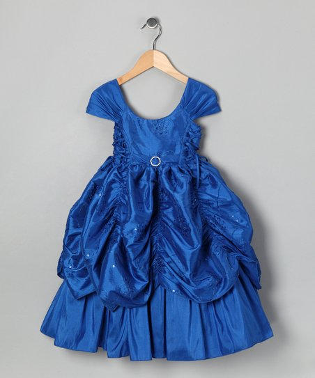Royal Blue Sequin Flower Pickup Dress - Toddler & Girls