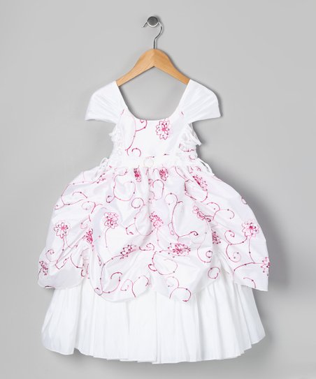 White & Fuchsia Sequin Flower Pickup Dress - Toddler & Girls