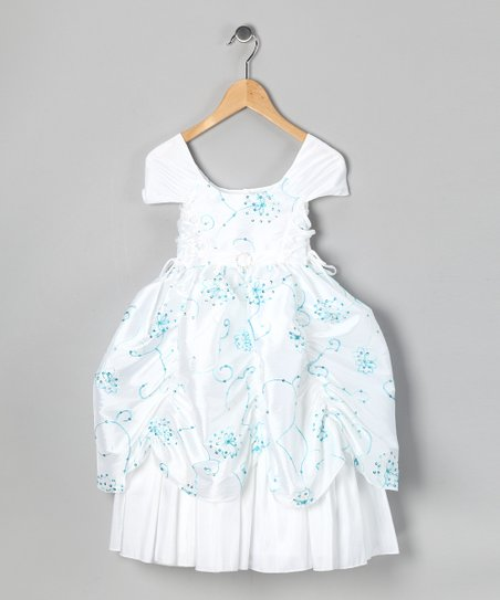 White & Turquoise Sequin Flower Pickup Dress - Toddler & Girls