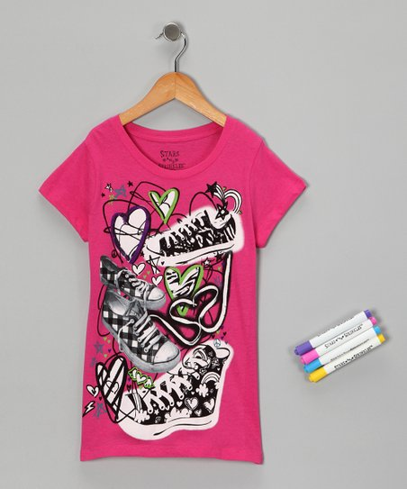 Hot Pink Sneaker Doodles Coloring Tee