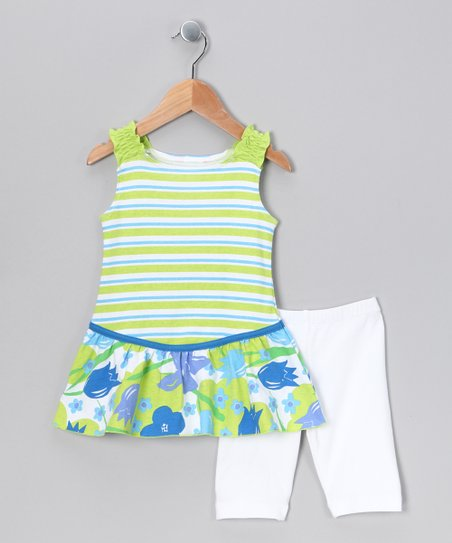 Lime Stripe Tunic & Shorts - Toddler & Girls