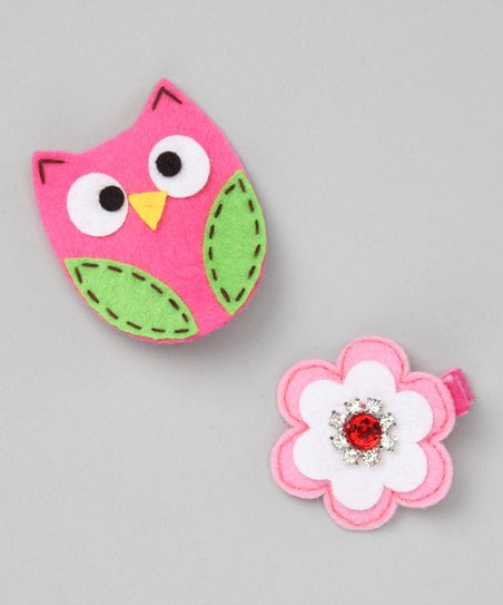 Owl & Flower Clip Set