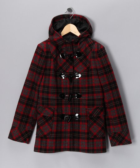 Red Plaid Wool-Blend Coat - Girls