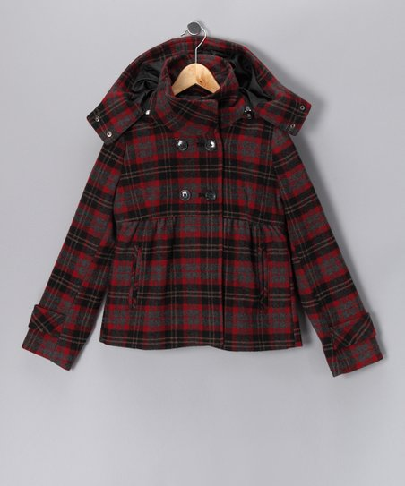 Red Plaid Hooded Coat - Girls