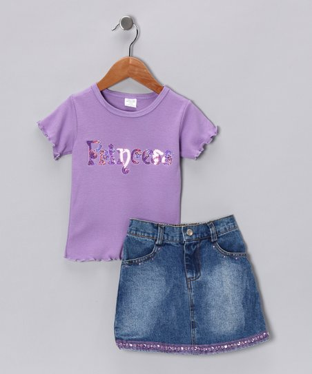 Blue & Lavender 'Princess' Tee & Denim Skirt - Toddler & Girls