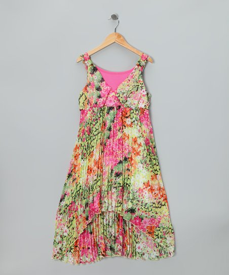 Pink Floral Fashion Dress - Girls Plus