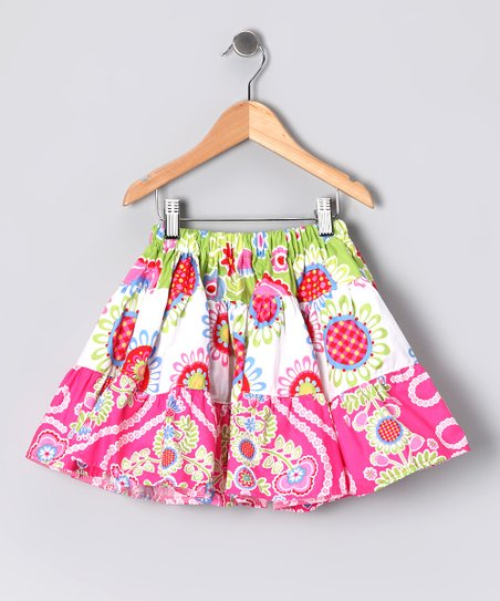 Pink & Green Floral Skirt - Toddler