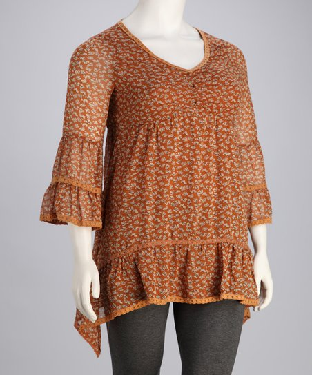 Brown Floral Bell-Sleeve Plus-Size Tunic
