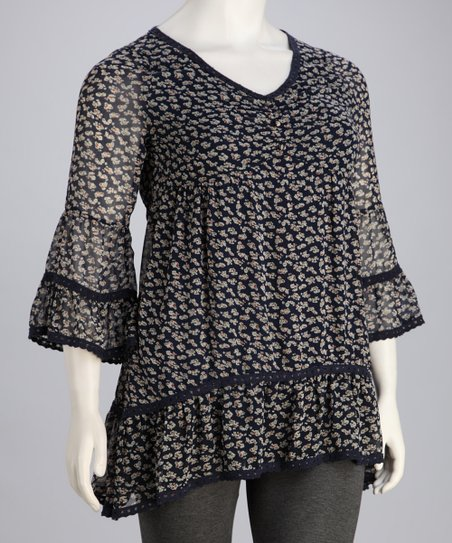 Navy Floral Plus-Size Bell-Sleeve Tunic