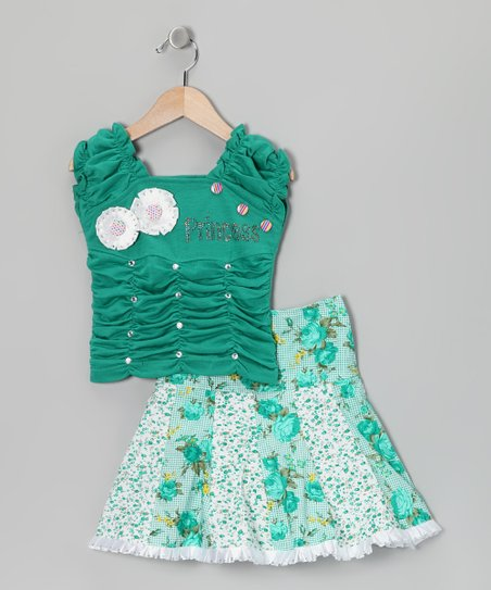 Green 'Princess' Top & Skirt - Girls