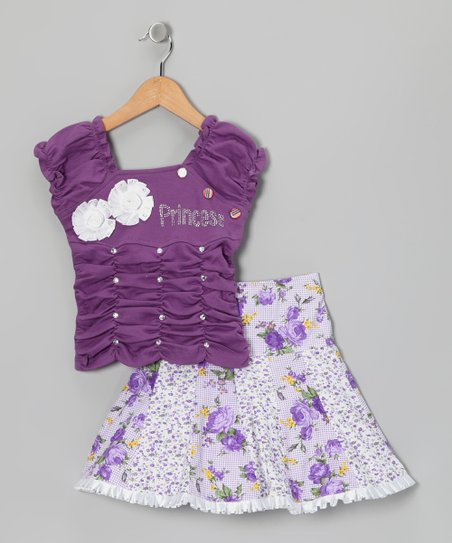 Blue Curl Purple 'Princess' Top & Skirt