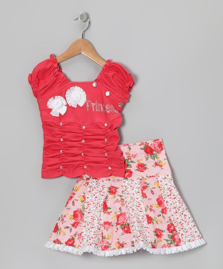 Blue Curl Red 'Princess' Top & Skirt - Girls
