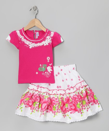 Blue Curl Rose Floral Top &amp; Skirt - Girls