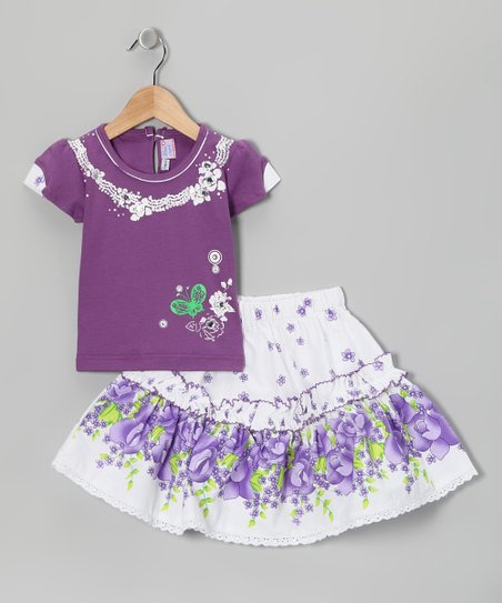 Blue Curl Purple Floral Top & Skirt - Girls