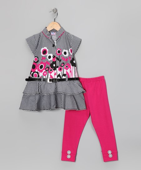 Blue Curl Gray & Pink Flower Belted Tunic & Leggings - Girls