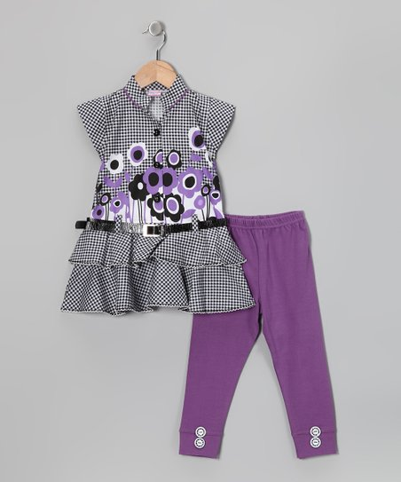Blue Curl Purple Flower Belted Tunic & Leggings - Girls