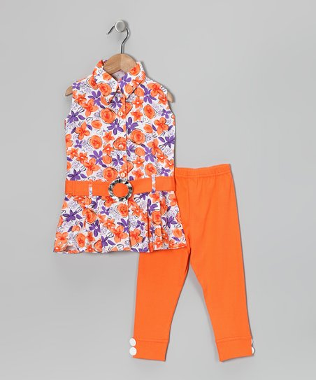 Blue Curl Orange & Purple Floral Tunic & Leggings - Girls