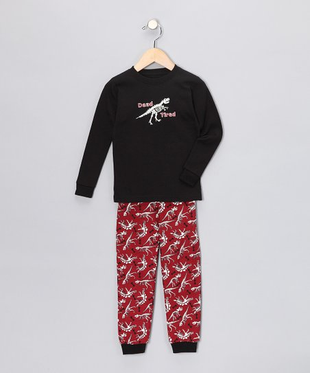 Black Dino Long-Sleeve Pajama Set - Infant, Toddler &amp; Kids