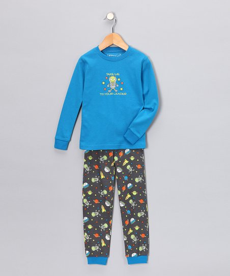 Blue Alien Long-Sleeve Pajama Set - Infant, Toddler & Kids
