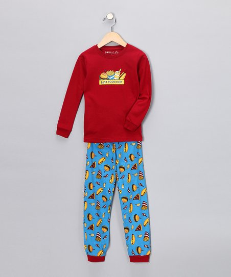Red 'Fast Food' Long-Sleeve Pajama Set - Infant, Toddler & Kids