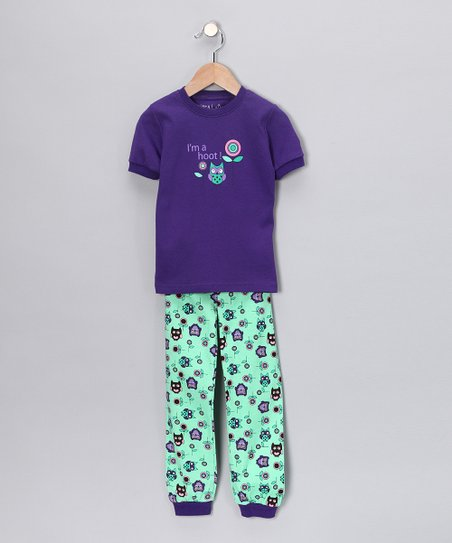 Purple 'I'm a Hoot' Short-Sleeve Pajama Set - Kids